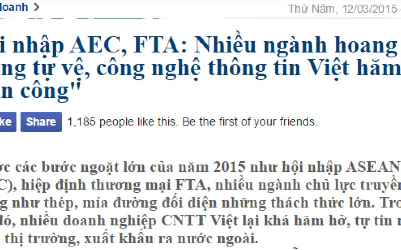 """Hội nhập AEC, FTA: Nhiều ngành hoang mang tự vệ, công nghệ thông tin Việt hăm hở """"tấn công"""""""